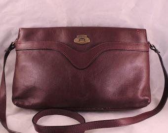 Vintage Maroon/Wine Leather Etienne Aigner Purse or Handbag with Adjustable Shoulder Strap
