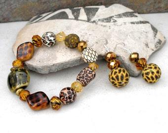 Leopard Jewelry Set Animal Pattern Earrings Stretch Bracelet Set Popular Jewelry For Women