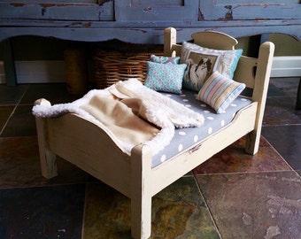 Vintage furniture dog bed doll bed antique bed pet bed vintage bed chalk paint furniture toy bed custom bedding decorative pillows
