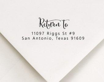 Return To Stamp, Address Stamp, RSVP Return Address, Wedding Invite Stamp, Calligraphy Stamp, Couples Wedding Stamp, Return Mail Stamp (509)