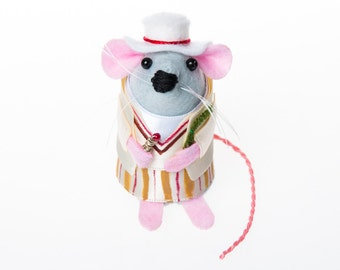 Peter Davison Doctor Who Mouse Artisan Ornament - felt mouse hamster rat mice cute gift for animal lover or doctor who collector