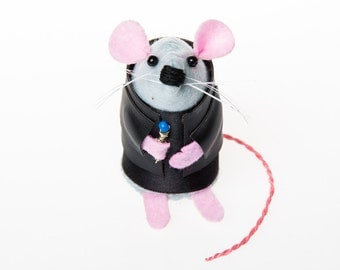 Doctor Who Christopher Eccleston Mouse ornament artisan felt rat hamster mice cute gift for doctor who fan or collector