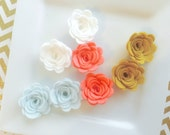 Small Wool Felt Rose Supply Set of 8 spring roses - blue - white - old gold - coral 1 inch rose