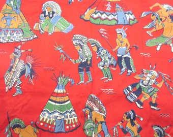 Vintage Juvenile or Children's Indian and Teepee Red Fabric Approx. 3 Yards