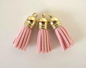 """3 TASSELS Faux suede suedine tassel  in pink. 1 3/8"""" long.  T3-512"""