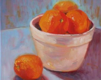 Still Life Oil Painting:  Orange Bowl  12 x 12 Canvas