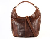 Brown Leather Scoop Hobo Purse Handbag