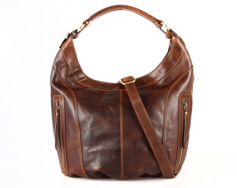 Brown Leather Scoop Hobo Purse, Handbag