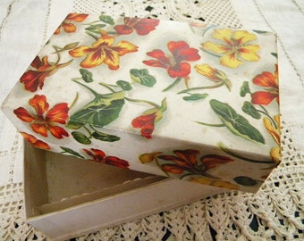 Antique Candy Box from Bailey's of Boston 1920's Chocolate Box with Nasturtium