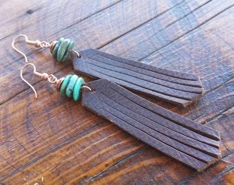 Fringe Earrings - Brown Leather - Turquoise - Copper -Rustic Earrings - Cowgirl Jewelry - Western Jewelry - Boho