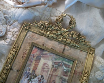 LAYAWAY fabulous, ornate antique frame & print with tattered fabric mat, swags, wreath, roses, easel, 18th c. wedding scene, french cottage