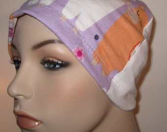 Llama  Flannel Sleep Cap, Cancer Cap, Alopecia , Chemo Hat