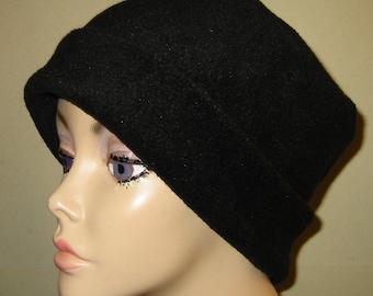 Black  Anti Pill Fleece Pillbox Hat, Winter Hat, Cancer, Chemo Hat, Warm Hat