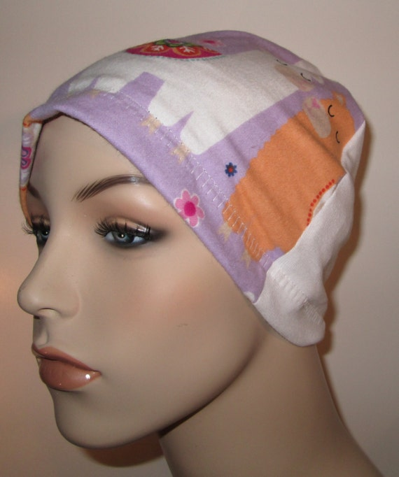 Kids  Llama  Flannel Sleep Cap, Cancer Cap, Alopecia , Chemo Hat