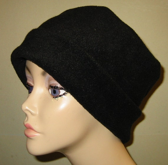 Black  Anti Pill Fleece Pillbox Hat, Winter Hat, Cancer, Chemo Hat, Warm Hat