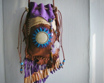NO WORRIES~ Medicine Bag, spirit pouch, Neckpouch, Leather Cell Phone Case, Medicine man, Shaman talisman, Quartz Amethyst Tiger's Eye
