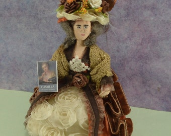 Fanny Burney Author Doll Miniature Art Collectible 18th Century Historical Writer