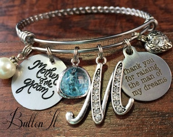 Mother of the GROOM gift, Mother in law gift, BANGLE bracelet, Man of my dreams charm bracelet, Initial, wedding gifts for mother in law