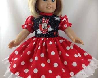 American Girl Doll dress Minnie Mouse just like the Disneyland Dress Red with Boy Shorts Eyelet Lace Trim Hair Bow and FREE Hanger