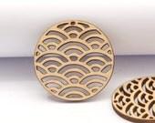 4pcs handmade laser cut wooden geometric charm pendant round wood cut (WB-136)