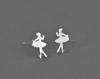 Ballet Girl 925 Silvery Stud Earring Post Finding (ET043)