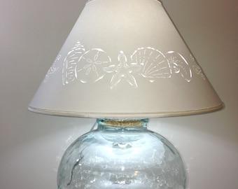 Fillable Bean Jar Lamp with Seashell Cut Lampshade-Fillable Lamp-Recycled Glass-Lamp-Seashell Lamp-Fillable-Lamp Shade-Beach Decor-Seashells