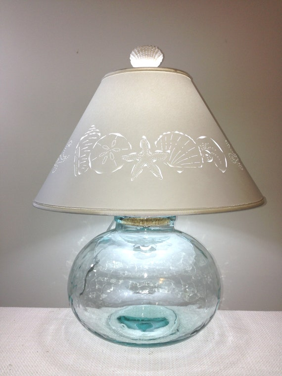 fillable bean jar lamp with seashell cut lampshade fillable. Black Bedroom Furniture Sets. Home Design Ideas