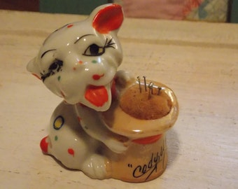 Vintage JAPAN Porcelain PINCUSHION Colorful Dog Sewing Room Accessory 1940s CODY, Wyoming Collectible