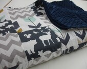 Forest Animals Navy Mint Gray Gold Minky Blanket You Choose Size and Minky Color MADE TO ORDER