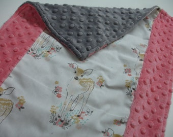 Fawn Gray Baby Burp Cloth with Minky 14 x 20 READY TO SHIP
