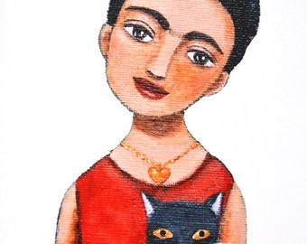 Frida Kahlo Print Frida & Black Cat Painting print Frida Portrait Art Gift for Artist Gift for Her Gift for Cat lovers Red Black Mexican Art