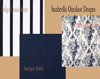 Sunbrella Custom Outdoor Stripe, Ikat and Solid Patio Drapes - You pick the style and fabric