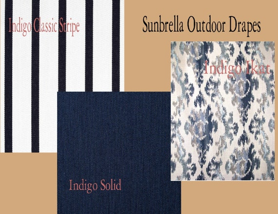 Sunbrella custom outdoor stripe ikat and solid patio drapes - Custom made outdoor curtains ...