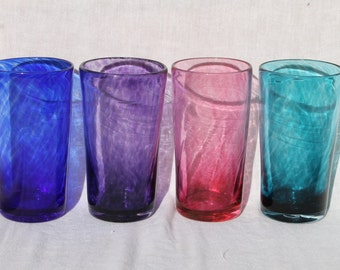 Set of Four Hand Blown Glass Tumblers or Drinking Glasses in Transparent Jewel Tone Colors blues, greens, purple and ruby