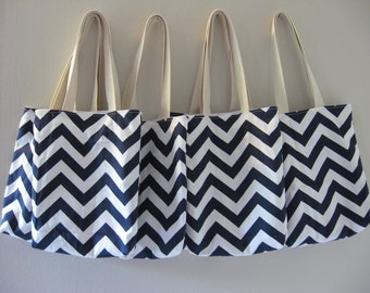 Bridesmaid Totes - 4 Chevron Mini Totes - Maid of Honor Gifts - Welcome Bags & Wedding Favors - Chevron Bags