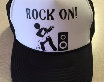 Rock on trucker hat (black)