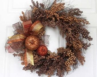 Thanksgiving wreath for front door, fall wreath, berry wreath, gold copper bronze, thanksgiving decor, glitter pumpkins, kitchen décor