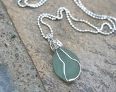 Blue Sea Glass Wire Wrapped Pendant, Sterling Silver Beach Glass Necklace, Handmade Pendant, Beach Necklace