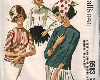 1962 McCalls 6583 Misses Blouses Tops Over Blouse Size 14 Vintage Sewing Pattern UNCUT