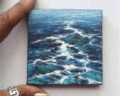 "Mini Oil Painting Sea Waves 3""x 3"" READY to SHIP"