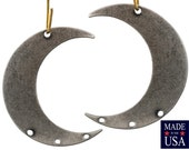 4 Hole Silver Ox Crescent Left and Right Pendant Hoops (4) mtl110E