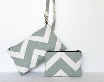 SALE - set of 2 - Square Wristlet  Zipper Pouch & Little Zipper Pouch - Light Green Shevron