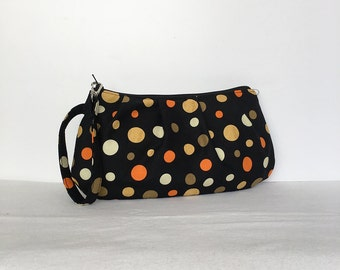 Pleated Wristlet Zipper Pouch // Clutch - Cheeky Wee Pumpkins Dots Black