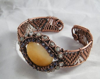 Golden Quartz, Iolite and Aquamarine woven wire cuff bracelet, copper with silver highlights