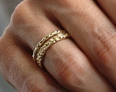 Valentines Day Sale Gold Coral Raw Rings Set | Stacking Rings | Vermeil Rings