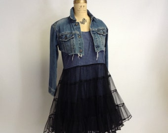 Dark Fairy Navy Plaid Cotton Empire dress with tattered tulle overskirt L