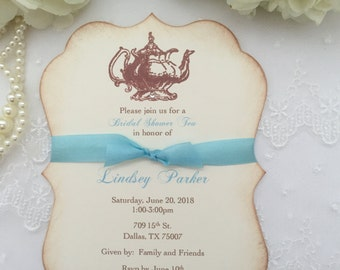 Tea Party Invitations Bridal Shower Set of 10Engagement Tea Party Aqua Printed Invitations