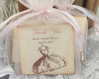 Bridal Shower Favors, Bridal Shower, Tea Bags Fully Assembled Thank You Blush Pink