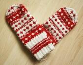 Hand-knit Scandinavian white and red mittens -- original design