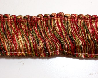 Brush Fringe, Gold, Red, and Green Brush Fringe Sewing Trim 1 3/4 inches wide x 2 yards
